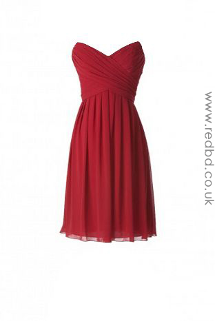 Chiffon Sweetheart Red Bridesmaid Dress-RBD082