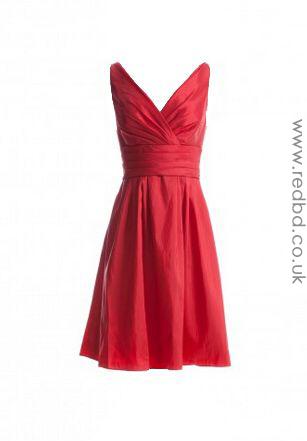 Satin V-neck Red Bridesmaid Dress-RBD085