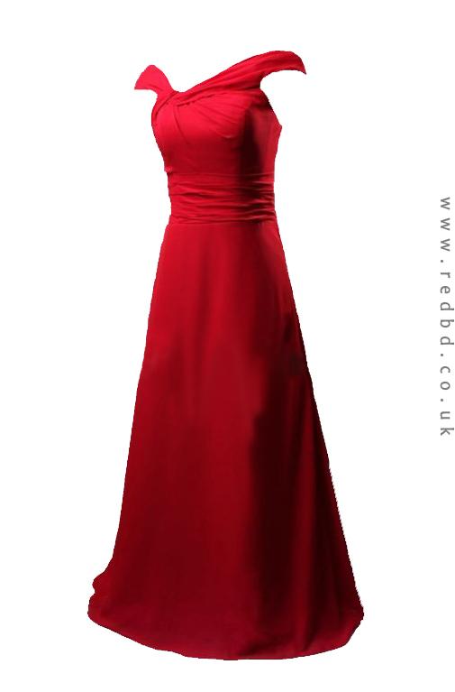 RBD072-long red satin bridesmaid dress