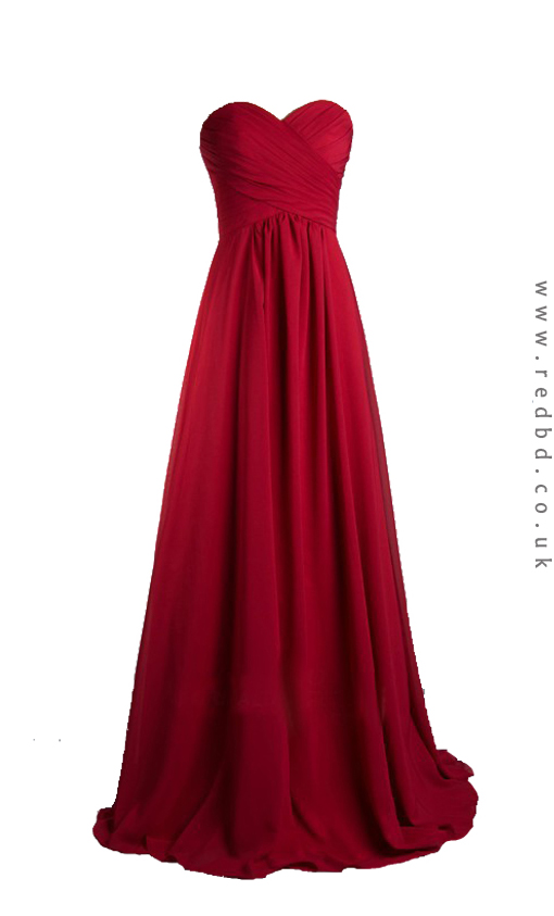 Red sweetheart strapless long bridesmaid dress for for Dresses to wear to a christmas wedding