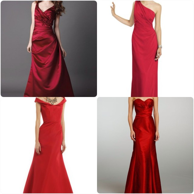 satin red bridesmaids dresses