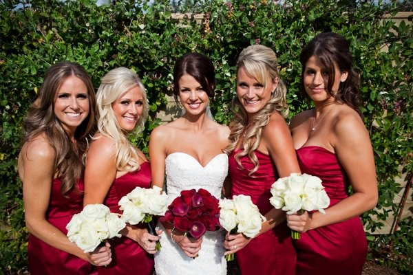 red bridesmaids wedding flowers