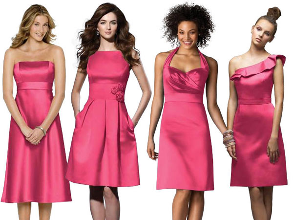 Same Color Different Styles Red Bridesmaids Dresses ...