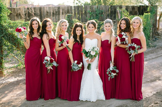 Long Red Bridesmaids Dresses