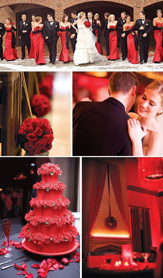 Red Color And Satin Fabric For Christmas Wedding