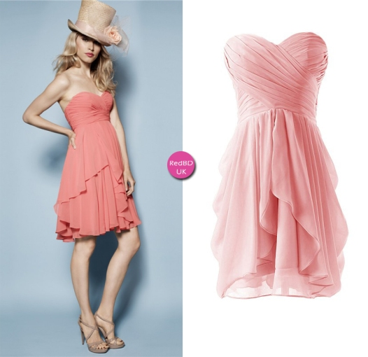 7883b4e7483e Chiffon Strapless Sweetheart Ruched Bodice Layered Skirt Short Bridesmaid  Dress