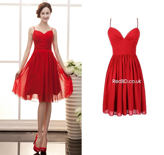 Red Spaghetti Strap Short Dress